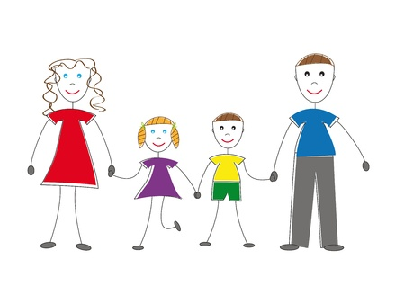 animated action: It is I and my family Illustration
