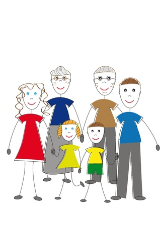 Oll family: kids, parents and grandparents Vector