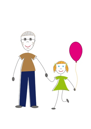 granddaughter: Happy grandfather and her granddaughter Illustration