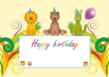 wather: Colorful birthday card with cartoon animals