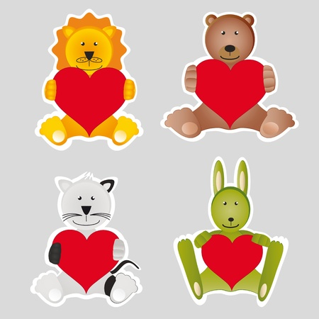 Four animals with readl hearts photo