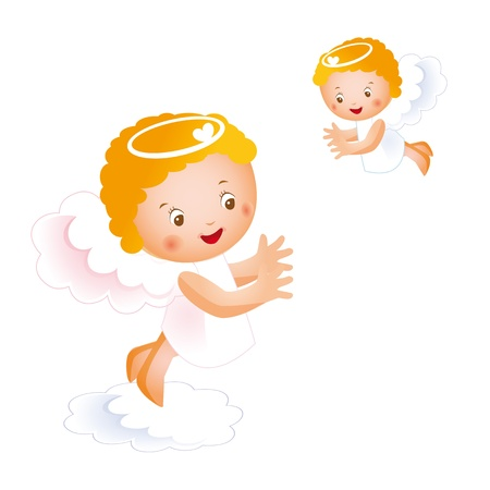 Little angels in the sky Stock Vector - 9376961