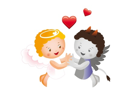 Angel and devil hold hands Vector