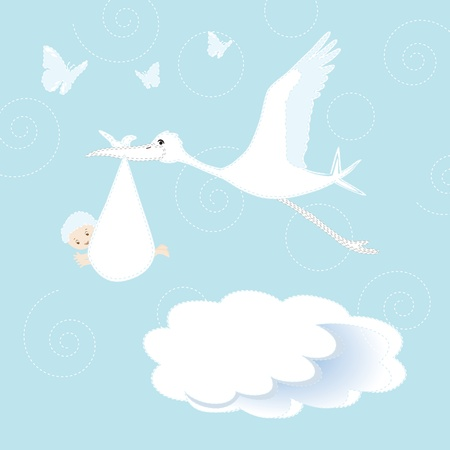 White stork arrival newborn baby boy Vector