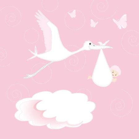 White stork arrival newborn baby girl Stock Vector - 9381239