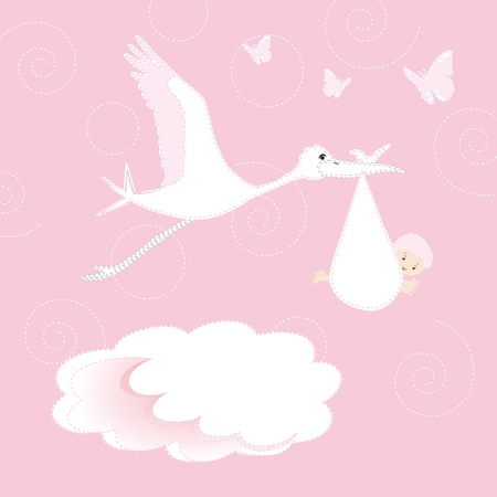 welcome party: White stork arrival newborn baby girl