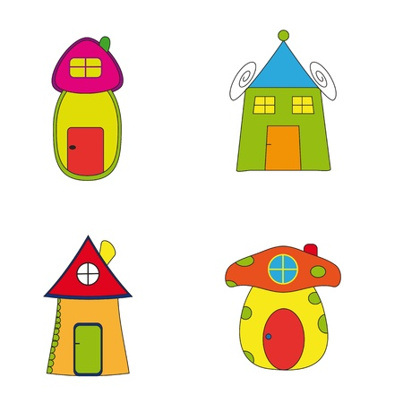 row of houses: Cuatro iconos coloridos mostrar casas de historia