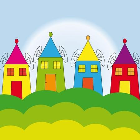 row of houses: Casas de colores en los sue�os de los ni�os Vectores