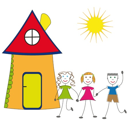 hand holding house: Happy children and their house