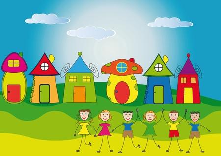 Los niños felices y sus casas Foto de archivo - 9381233