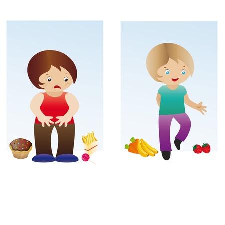 Fat and slim Vektorové ilustrace