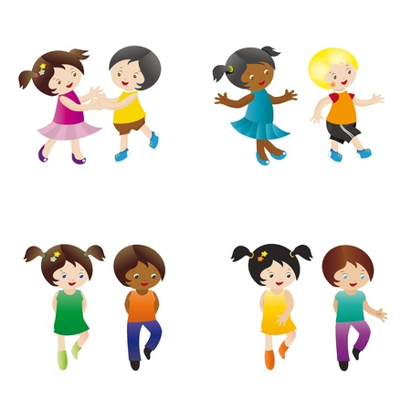 Dancing and happy children four pair