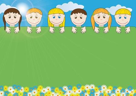 mani terra: Confine di bambini che � possibile utilizzare sulla giornata della terra Vettoriali