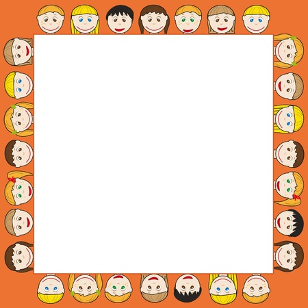 blue hair: Frame with many smile kids Illustration