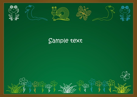 school table: School board with animals chalk drawing