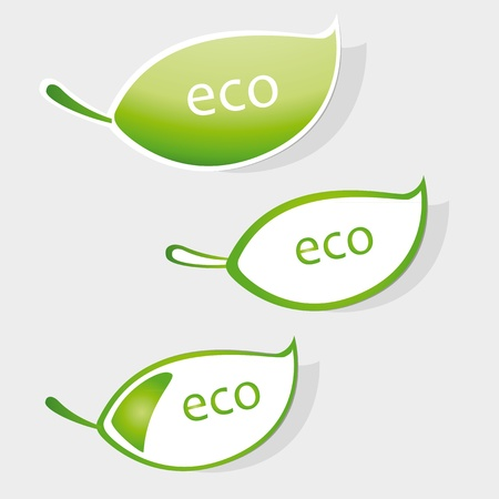 Set of labels with word eco Stock Vector - 9383265