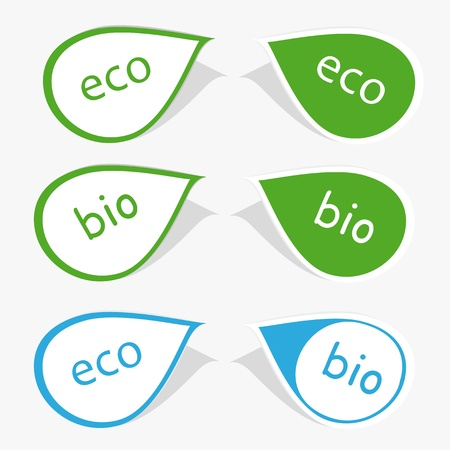 Set of labels with word bio and eco Stock Vector - 9383266