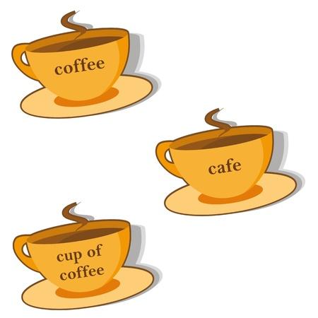 demitasse: Etichette Visualizza tazza di caff� caldo