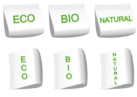 Set of labels with word bio, eco and natural Vector