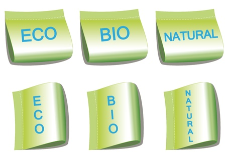 Set of labels with word bio, eco and natural Stock Vector - 9383295
