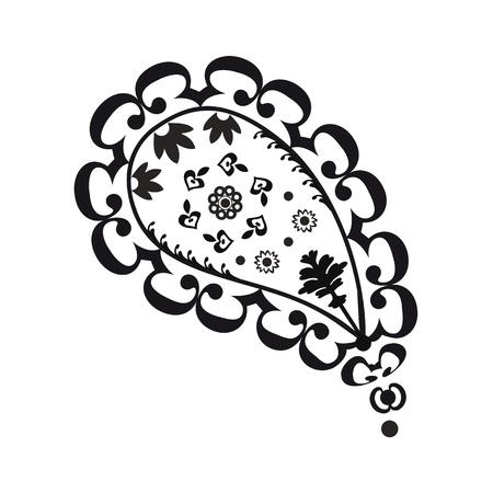 motif cachemire: Noir et blanc paisley R�sum� Illustration