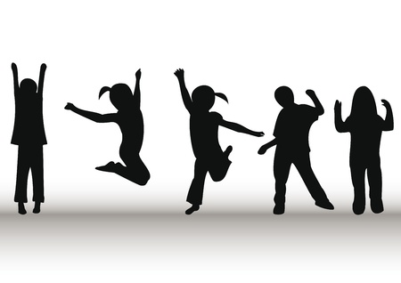 chicas bailando: Ni�os felices jugando y saltando
