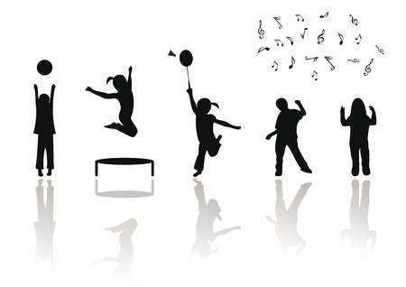 Happy kids playing and jumping Vector