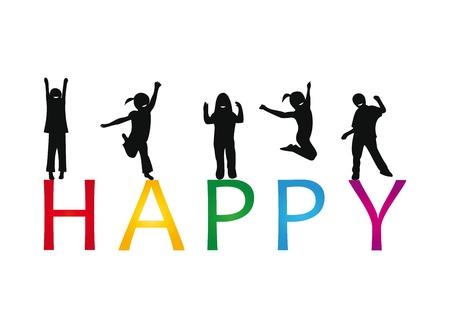 enfants dansant: Happy enfants jouant et sauter Illustration