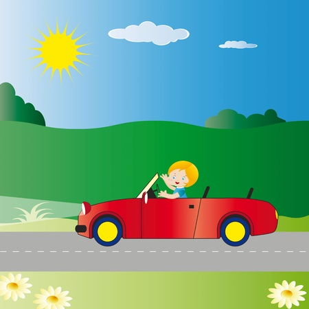 sun road: Small boy driving car on road