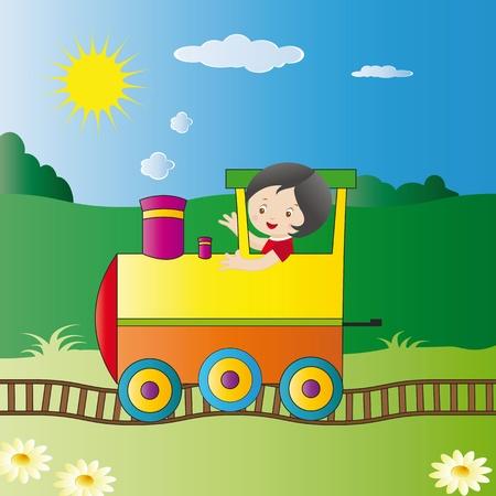 Small boy driving big locomotive Vector