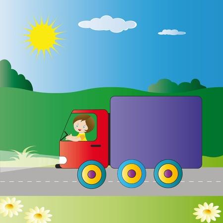 Small boy driving big truck Stock Vector - 9383280