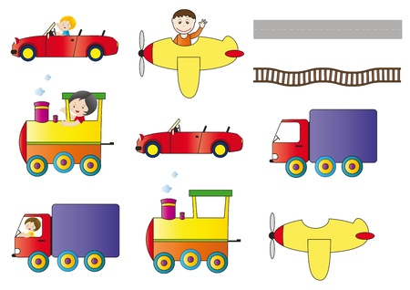 Cabriolet, truck, locomotive and aeroplane Vector