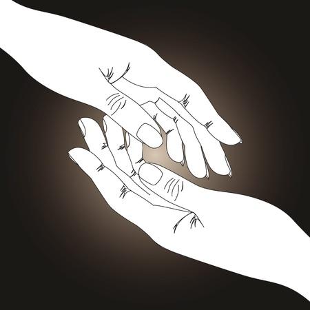 medical drawing: Dos manos sobre fondo oscuro