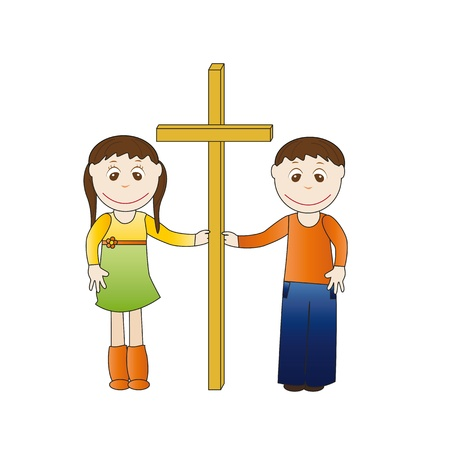 Boy and girl cross hands hold Vector