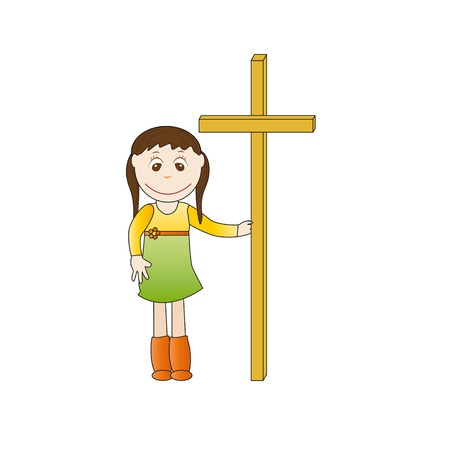 Smile girl cross hands hold Vector