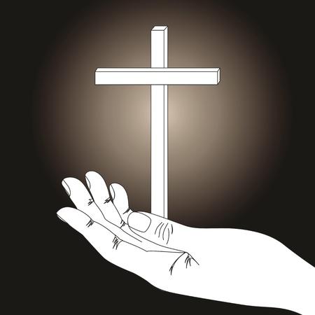 crucify: Cross and hand on  dark background