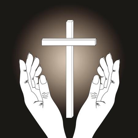 Cross and hands on  dark background Stock Vector - 9383270
