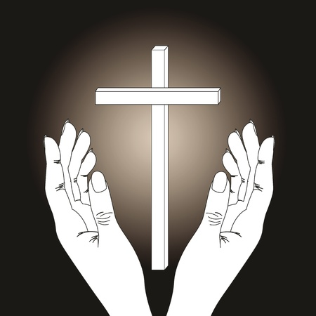 crucify: Cross and hands on  dark background
