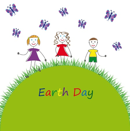 green earth: Happy kids on clean earth