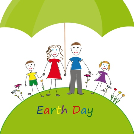 going green: All happy family environment protection Illustration