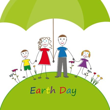 madre tierra: Toda protecci�n de medio ambiente familiar feliz Vectores