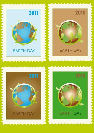 Stamp with planet symbol on Earth Day Vector