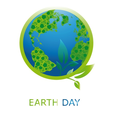 cleaning planet: Planet symbol on Earth Day