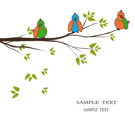 kids drawing: Three colourful birds seat on branch