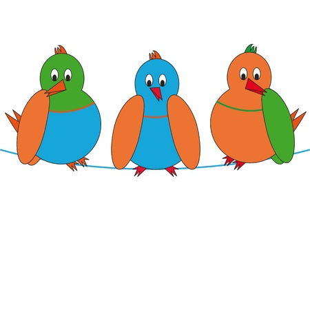 cartoon birds: Three colourful birds seat on rope Illustration