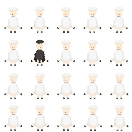 One black sheep in flock Stock Vector - 9394788