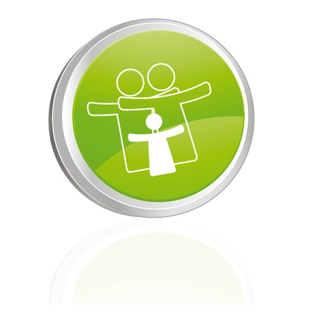 Green button with family symbol Vector