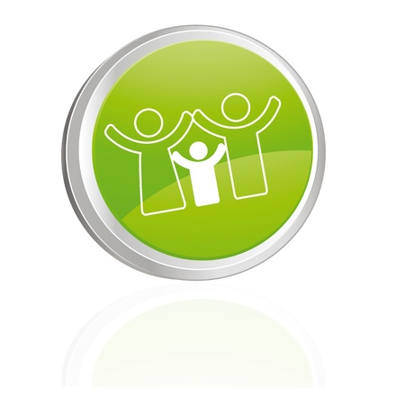 Green button with family symbol Stock Vector - 9555952