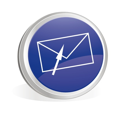 Blue button with envelope symbol Vector
