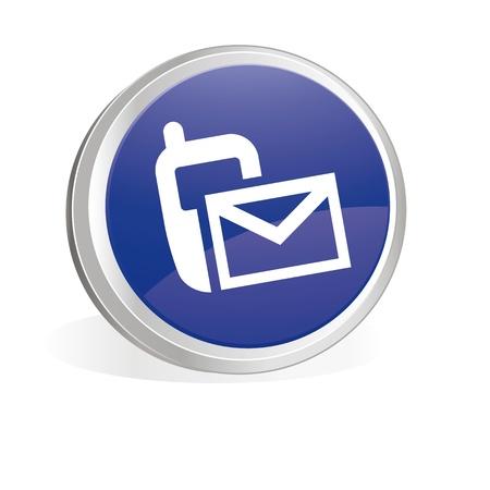 alertas: Bot�n azul con s�mbolo de mobile y envolvente